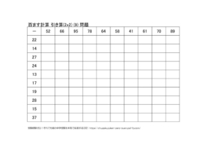 ひき算の百ます計算(2x2)